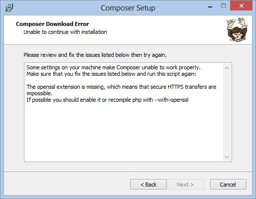 Error de Composer en WAMP