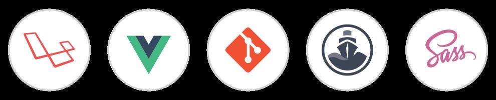 Iconos de Laravel, Vue, Git, Codeship, Sass