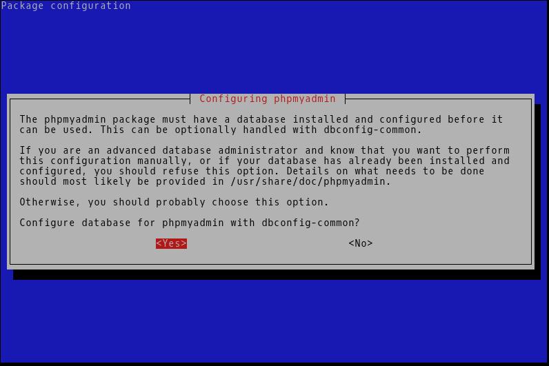 Configurar base de datos de phpmyadmin