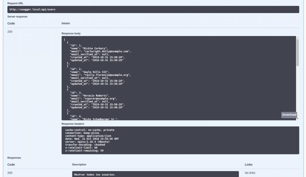 API documentada con Swagger