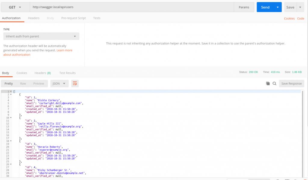 Respuesta de la API en Postman