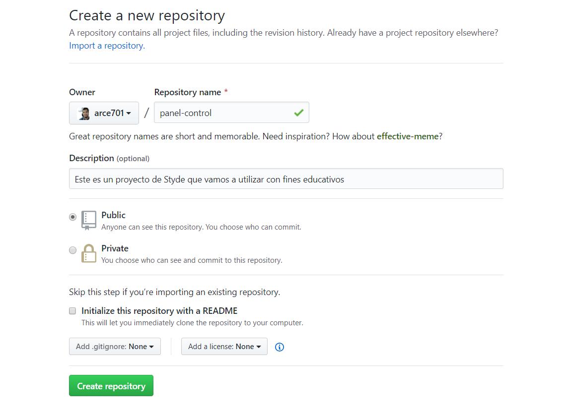 Crear nuevo repositorio en GitHub