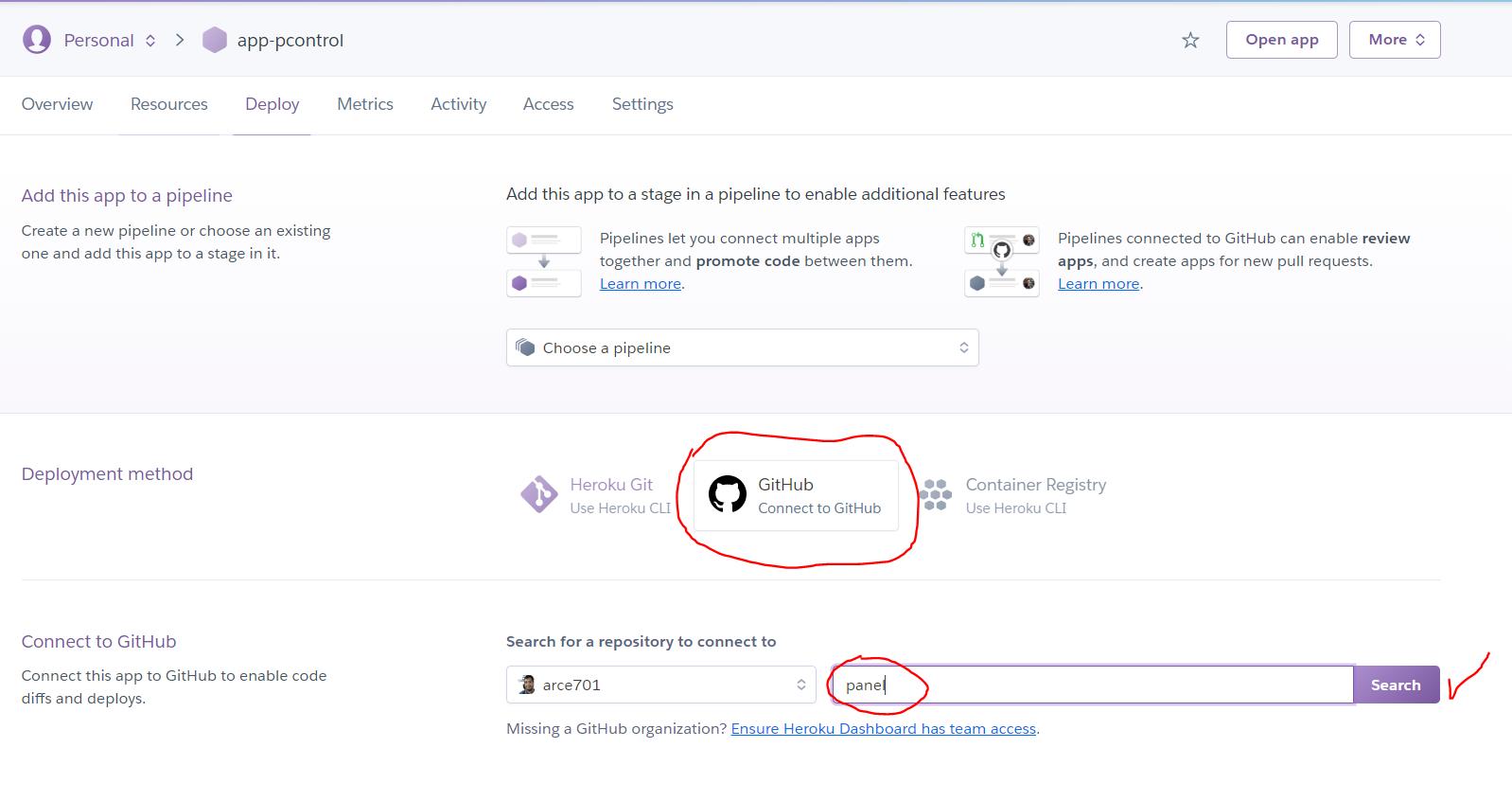 Conectando GitHub en app de Heroku