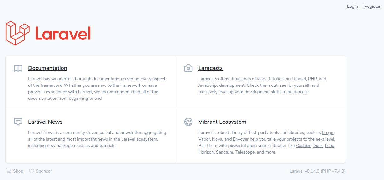 Página de inicio de Laravel 8 instalado con Jetstream + Livewire