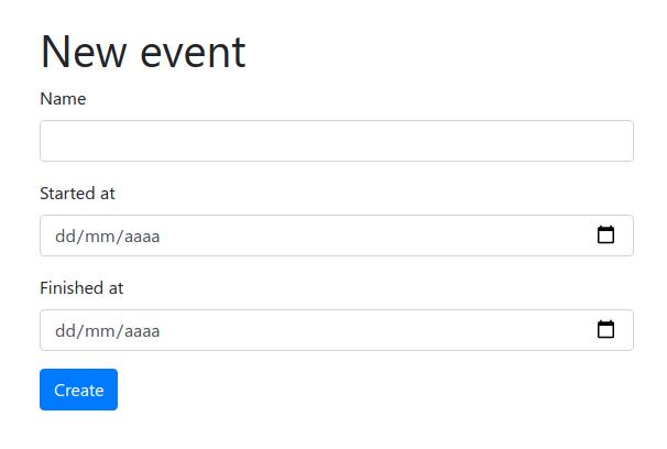 formulario para crear nuevo evento