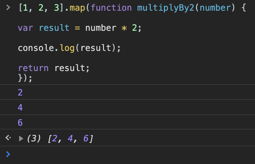 map in JS console